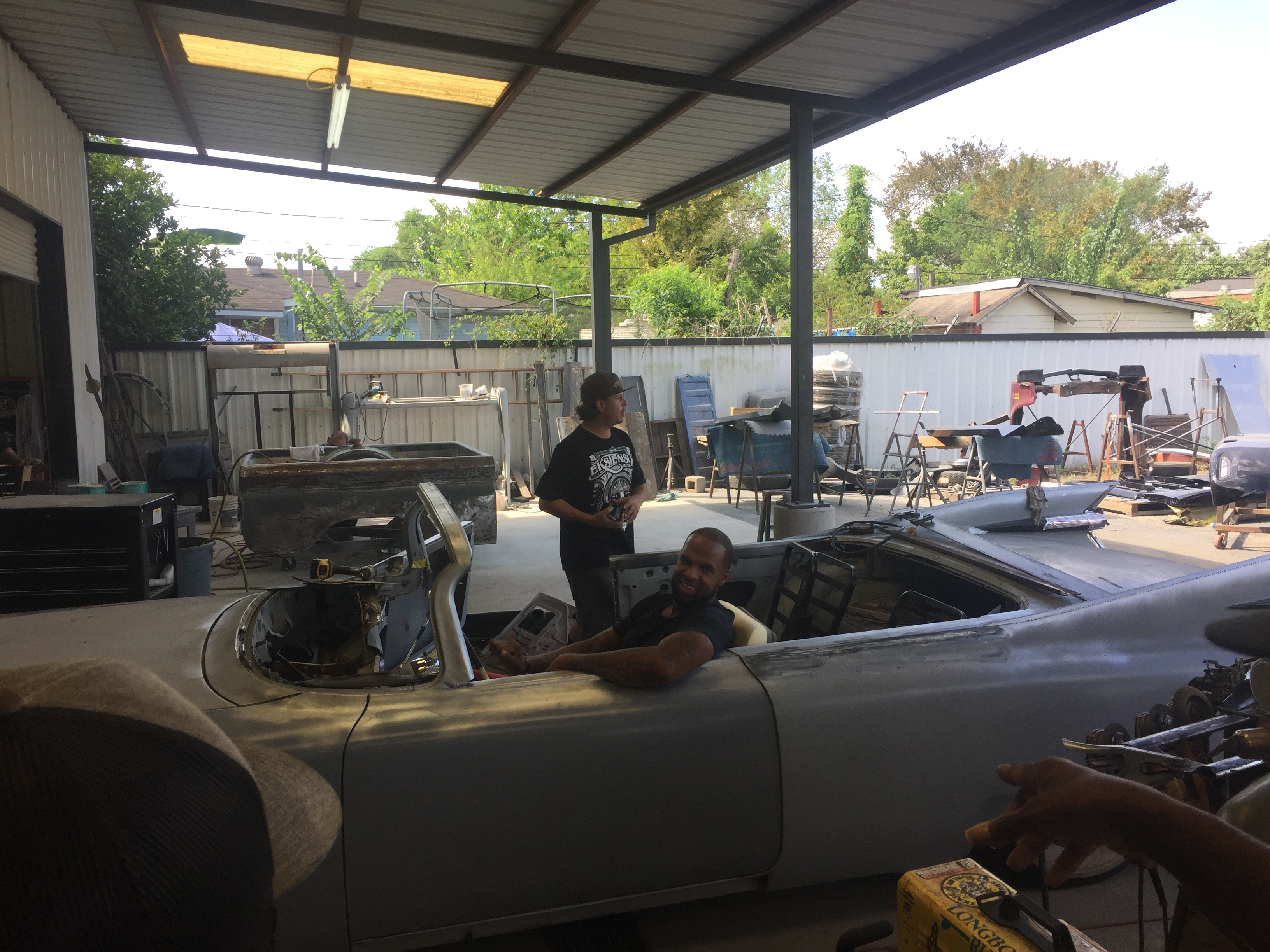 test fitting the new convertible Caddy - Slim Thugs 1959 Cadillac - Texas Metal